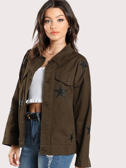 Star Patched Flap Pocket Front Jacket