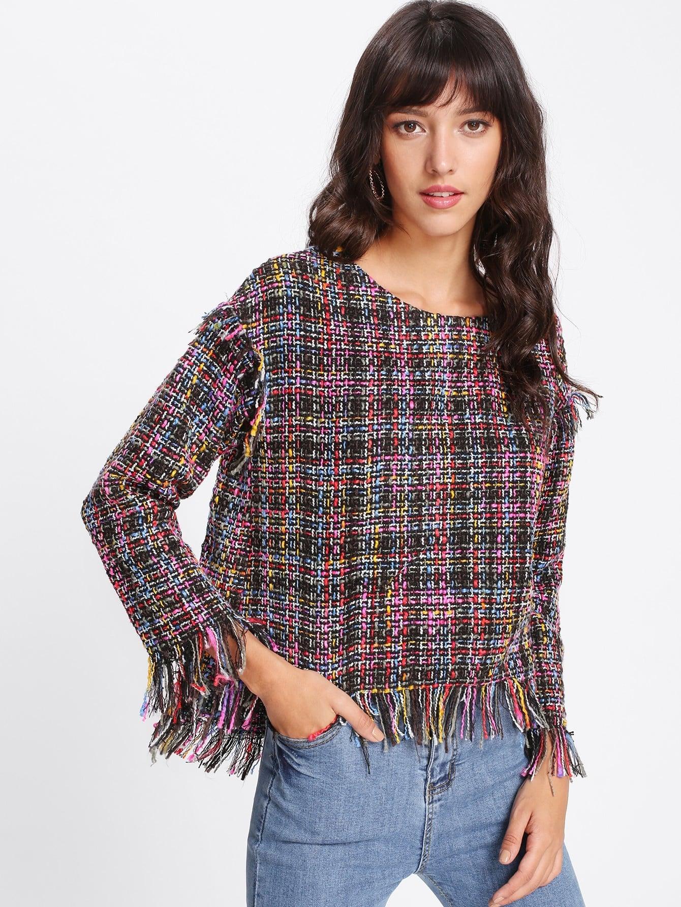 Fringe Trim Dip Hem Tweed Top lace trim fringe detail tweed top