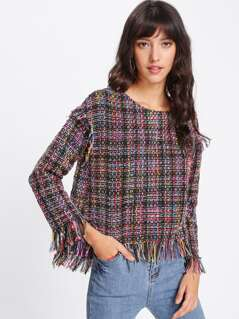 Fringe Trim Dip Hem Tweed Top