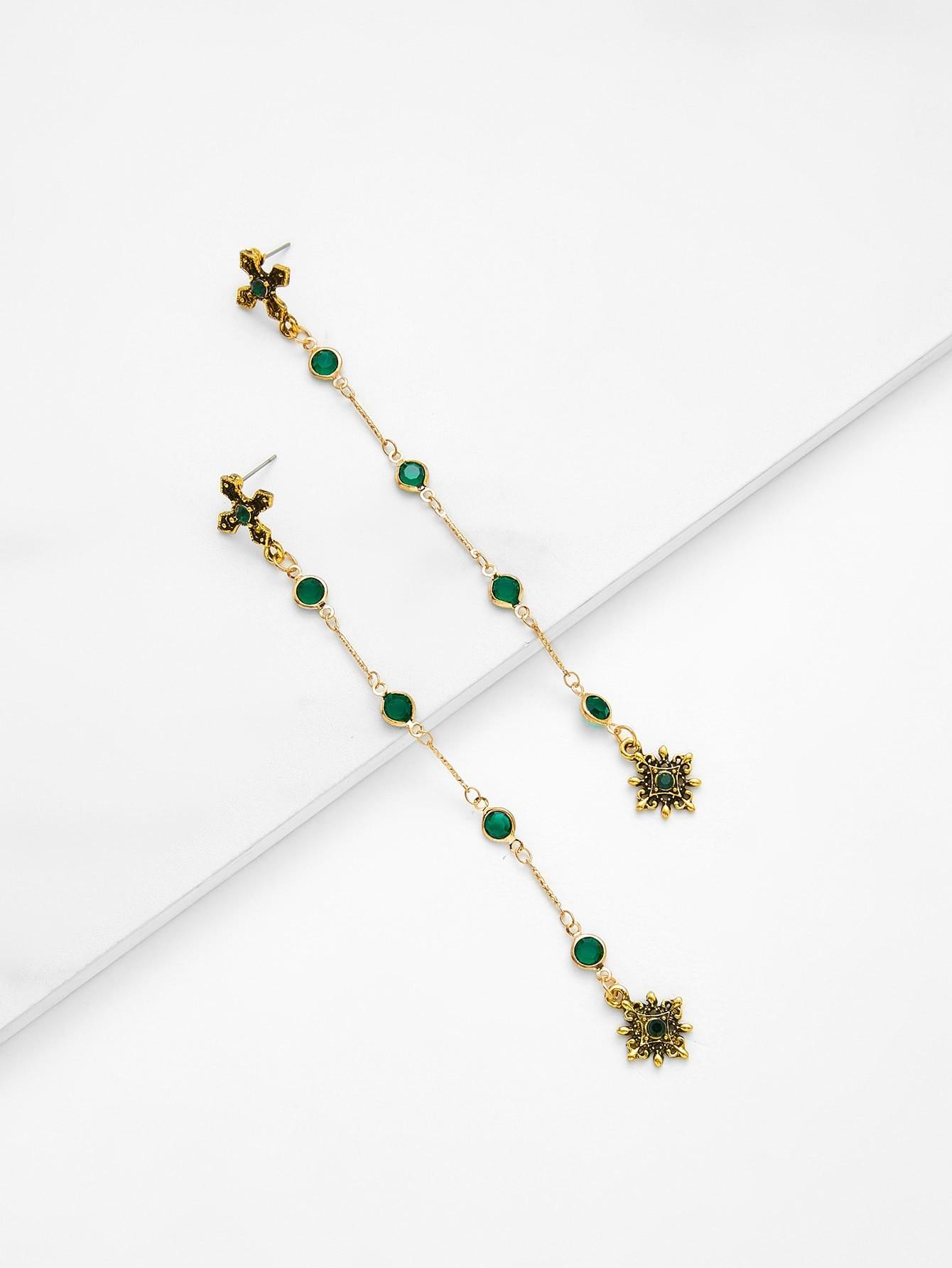 Cross Top Drop Earrings With Rhinestone two tone cross design drop earrings