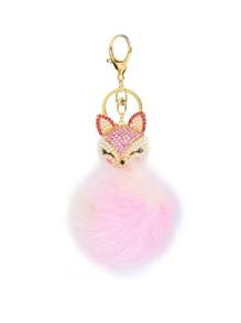 Porte-clés de renard de bijou avec pompon