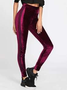 Striped Sideseam Velvet Leggings