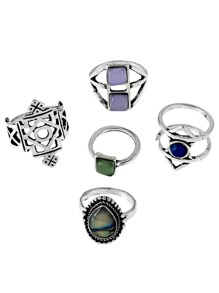 Teardrop Stone Layered Ring Set 5pcs