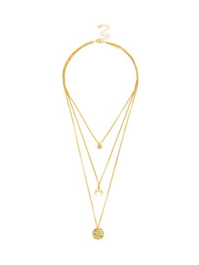 Round Pendant Three Layered Chain Necklace