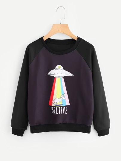 Unicorn Print Color Block Sweatshirt