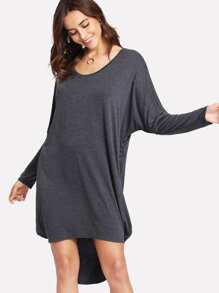 Dolman Sleeve Dip Hem Marled Tee Dress