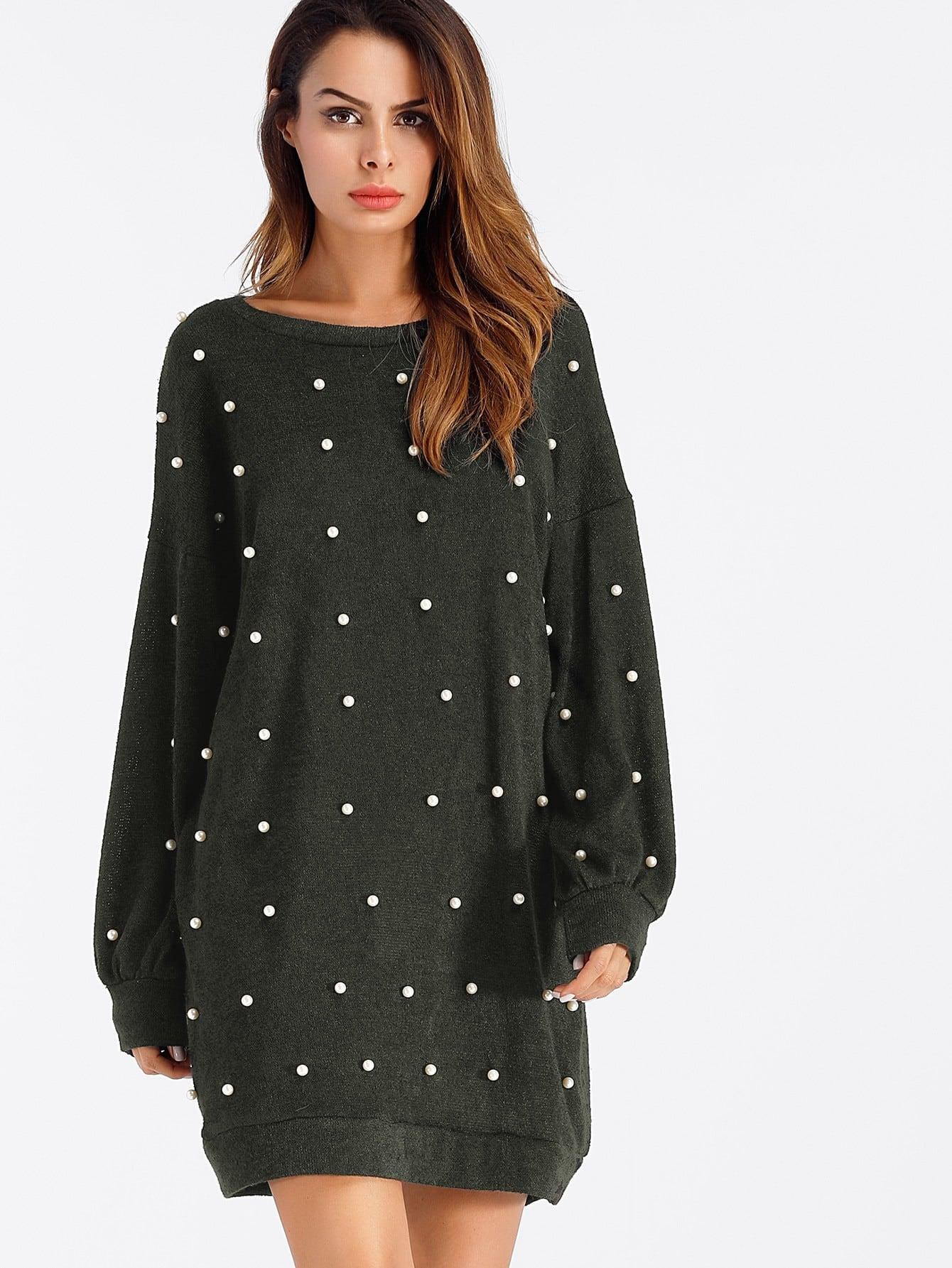 Pearl Beaded Drop Shoulder Sweater Dress faux pearl drop shoulder dress