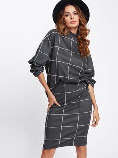 Drop Shoulder Grid Top With Skirt Set