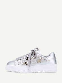 Flower Decorated Lace Up Sneakers