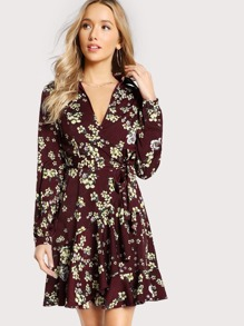 Flower Print Collared V Neck Wrap Dress