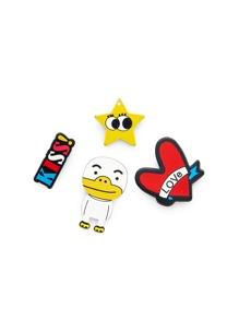 Star & Heart Design Brooch Set