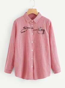 Embroidery Detail Striped Blouse