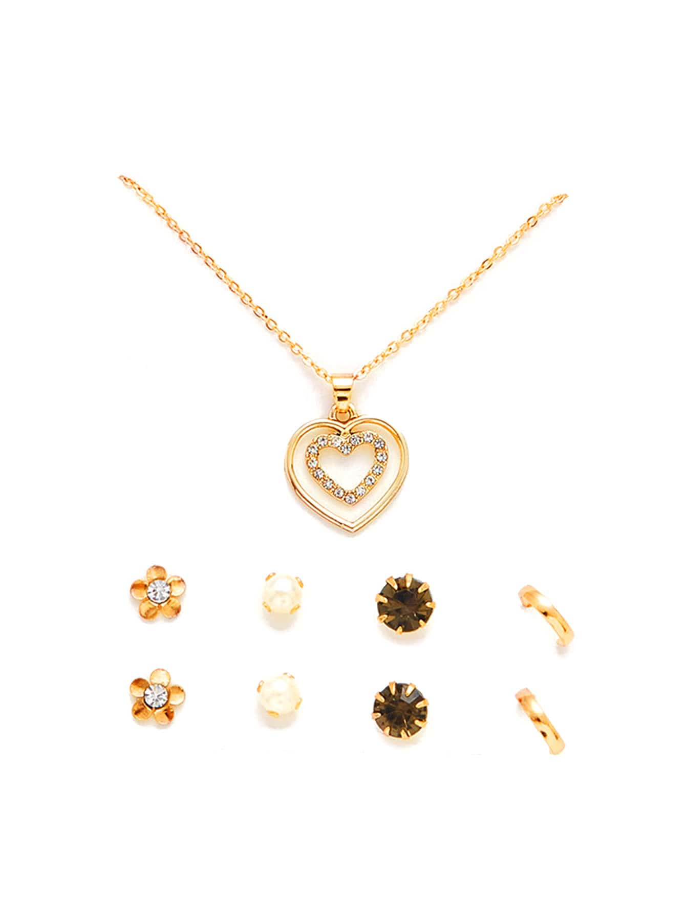 Layered Heart Pendant Necklace & Stud Earring Set джемпер для мальчика overmoon by acoola borei цвет серый 21100310001 1900 размер 164