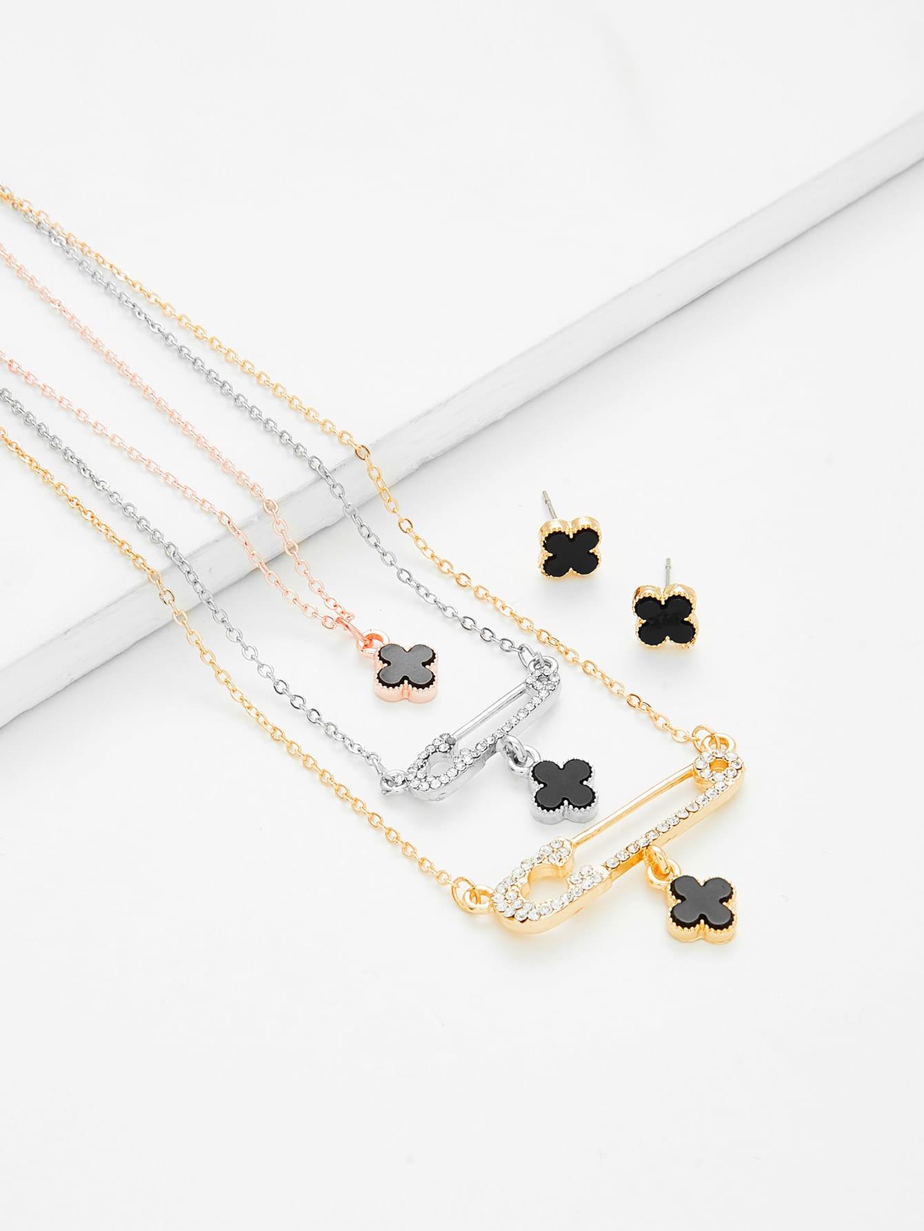 Flower Pendant Necklace & Earring Set er 3789 stylish retro jewelled pendant earring navy blue 2 pcs