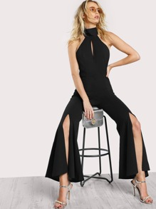 Keyhole Halter Neck Split Flared Jumpsuit