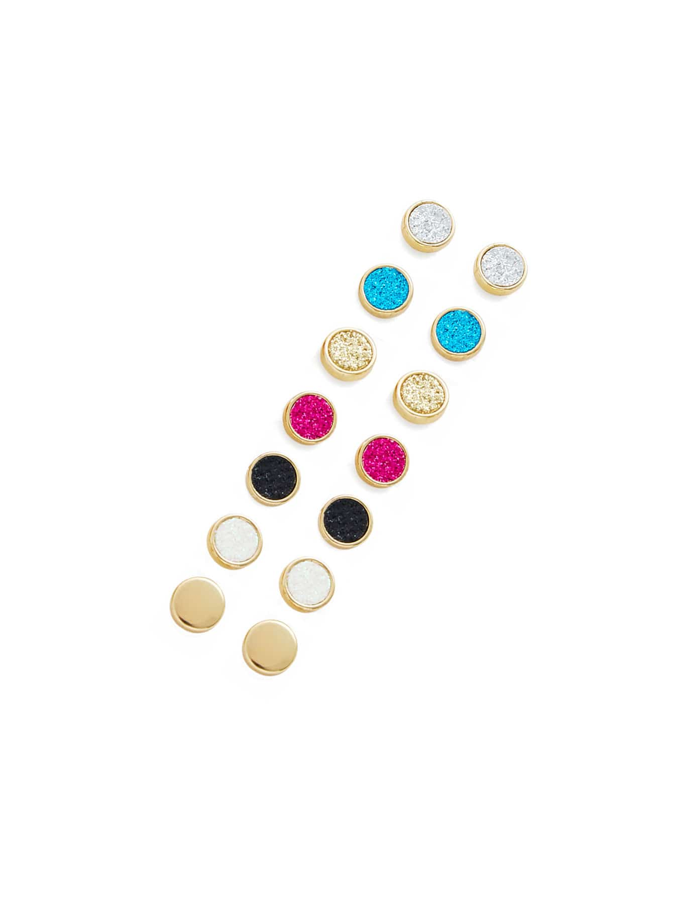 Mini Round Stud Earring Set 8Pair