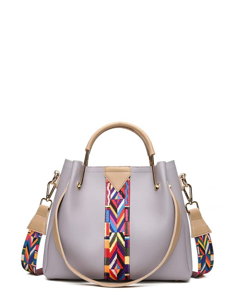Embroidery Detail PU Shoulder Bag With Handle все цены