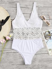Lace Crochet Contrast Bikini Set