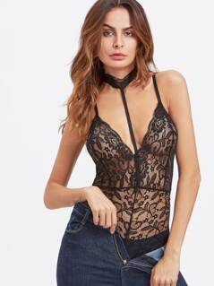 Choker Neck Crisscross Back Lace Teddy