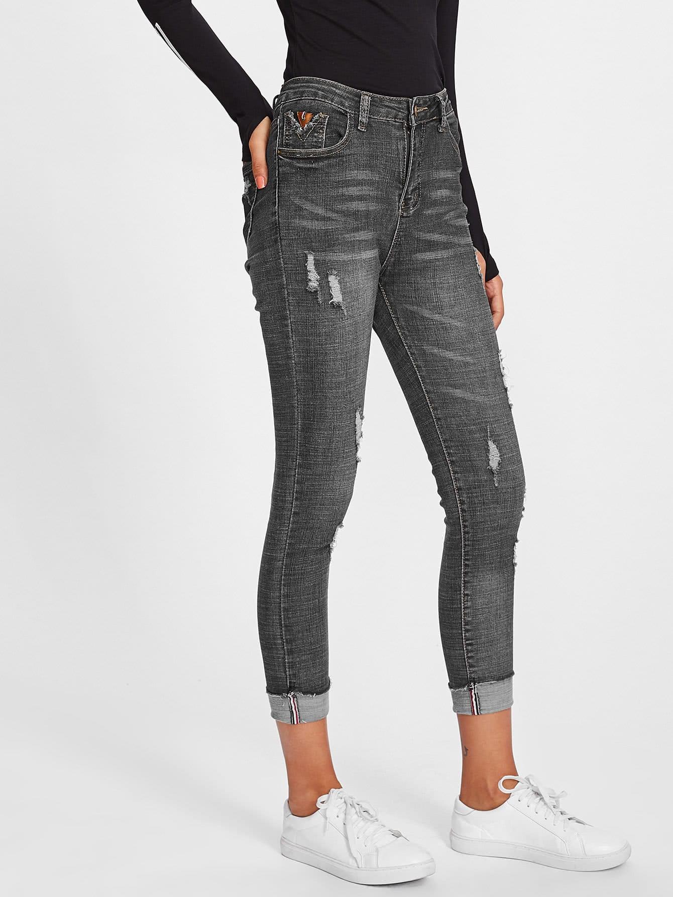 Roll Hem Ripped Jeans
