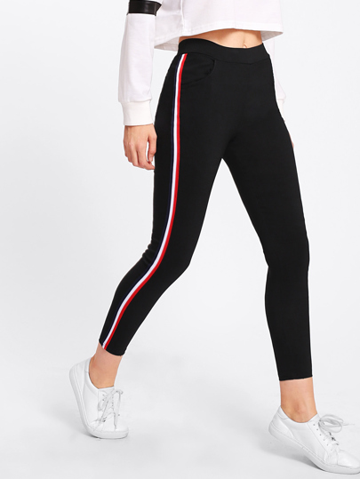 Contrast Striped Side Leggings