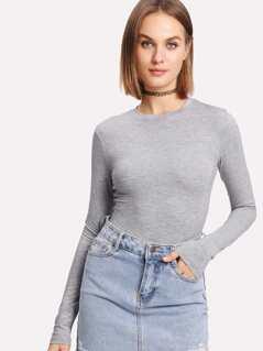 Heather Knit Long Sleeve Tee Bodysuit