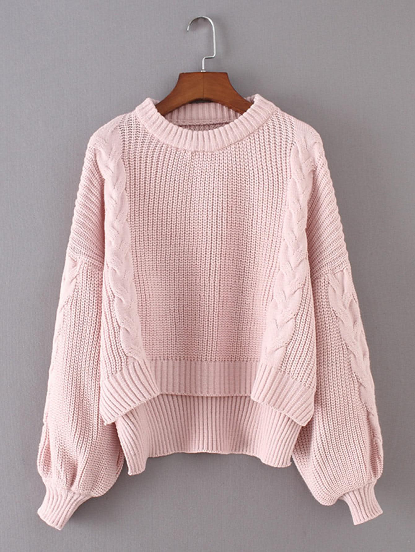 Drop Shoulder Dip Hem Cable Knit Sweater