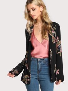 Floral Print Lightweight Blazer BLACK