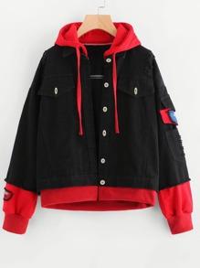 Contrast 2 In 1 Frayed Trim Hooded Denim Jacket