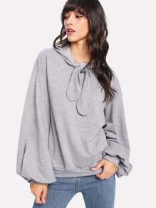 Exaggerated Lantern Sleeve Tied Neck Hoodie