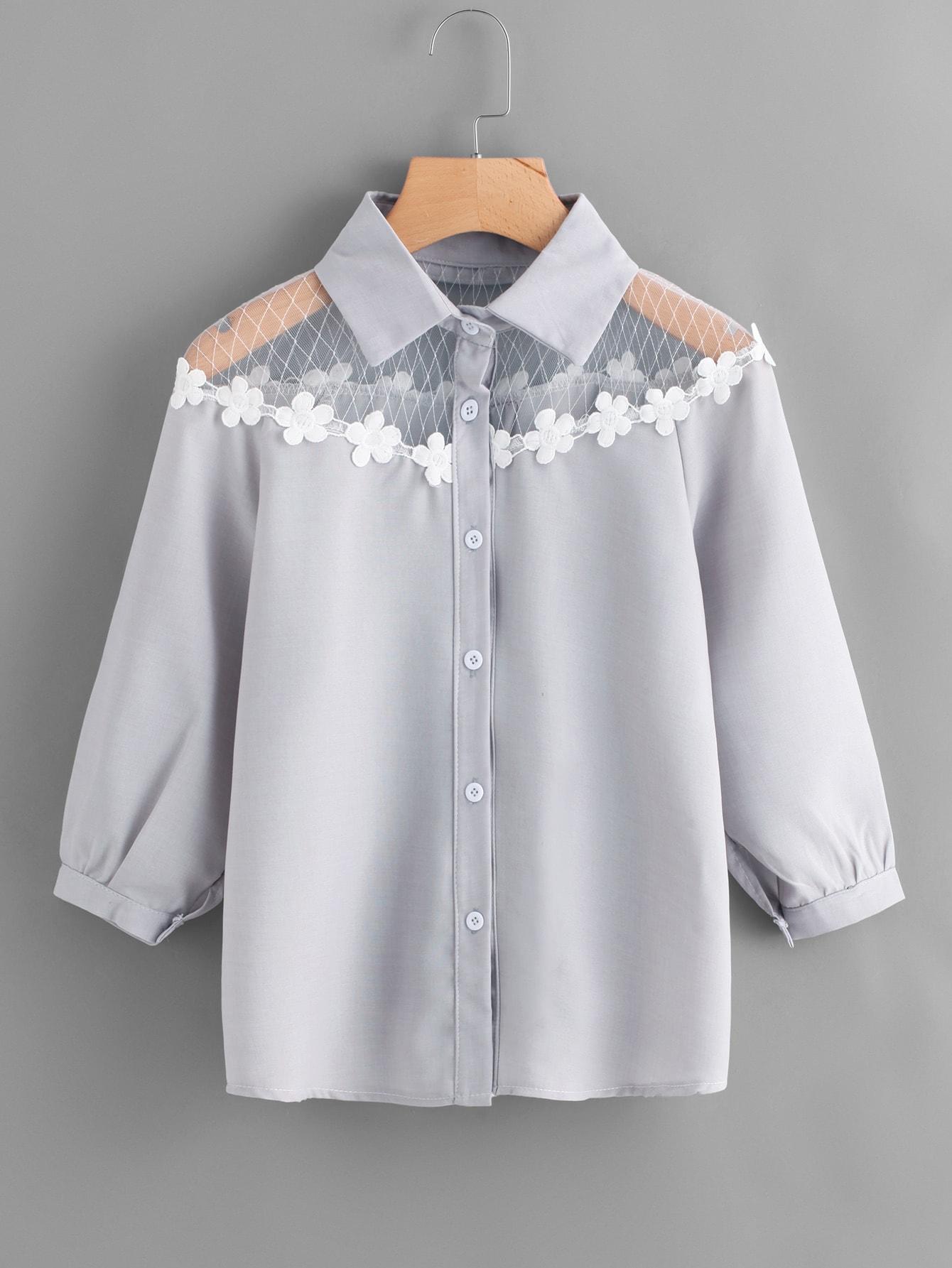 Contrast Lace Appliques Shirt