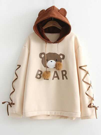 Bear Print Lace Up Contrast Hoodie