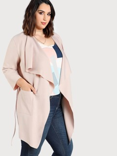 Skinny Belt Detail Waterfall Coat
