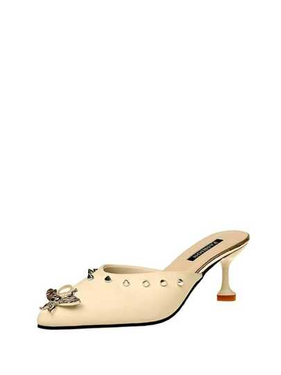 Butterfly Decorated Point Toe Studded Heels