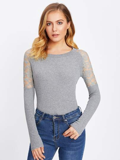 Floral Lace Panel Marled Knit Jumper