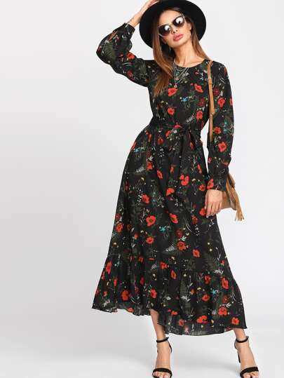Botanical Print Belted Hijab Long Dress