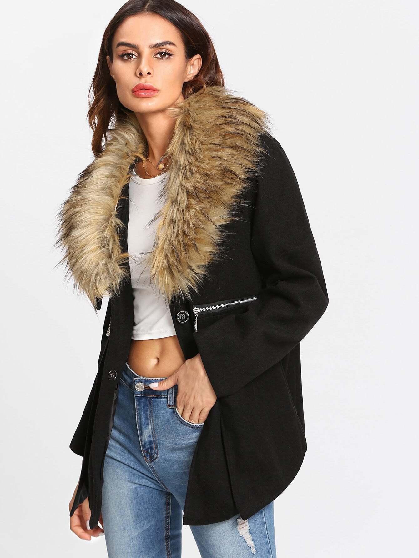 Faux Fur Trim Zip Detail Coat camo insert faux fur trim denim jacket