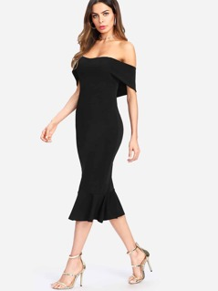 Flounce Hem Foldover Off Shoulder Dress