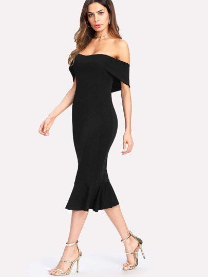Flounce Hem Foldover Off Shoulder Dress