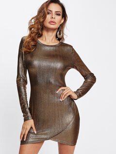 Form Fitting Overlap Hem Metallic Dress