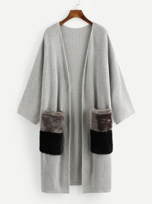 Contrast Faux Fur Pockets Longline Cardigan Sweater