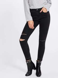 Ripped Knee Crop Skinny Jeans