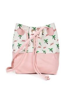 Palm Tree Print PU Bucket Bag