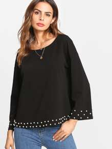 Pearl Embellished Trim Solid Top