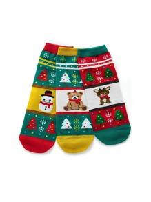 Christmas Snowflake Pattern Socks 5pairs