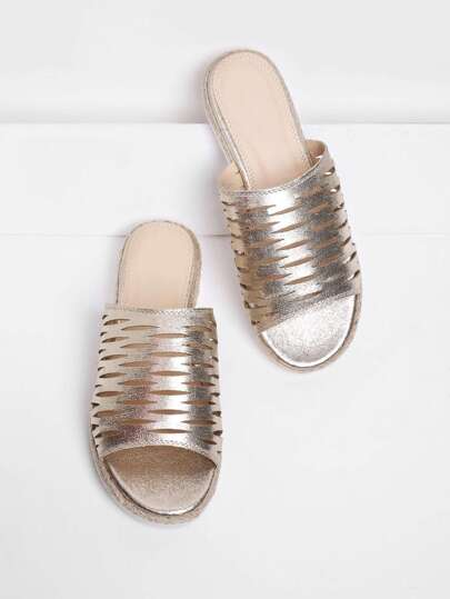 PU Cut Out Flat Sandals