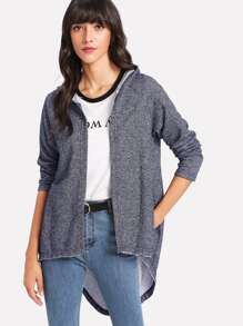 Space Dye Dip Hem Hooded Cardigan