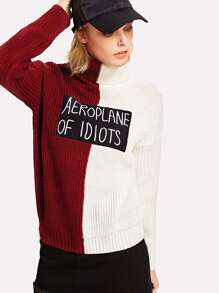 Two Tone Patch Detail Jumper
