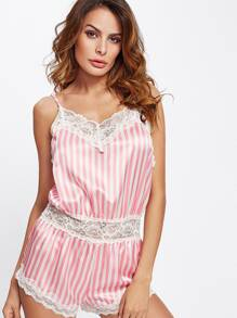 Contrast Lace Trim Striped Sleep Romper
