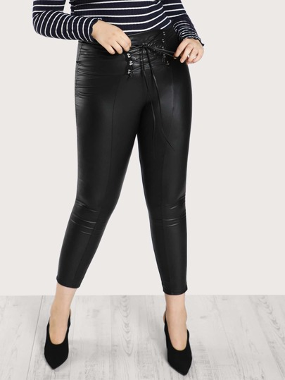 Lace Up Waist Coated Leggings